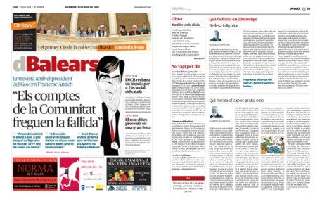 portada i pàgina tres del nou dBalears